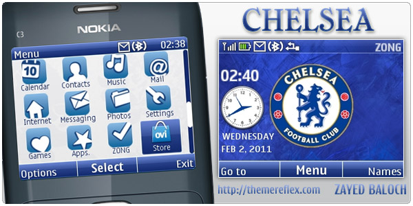 Chelsea analog clock theme for Nokia C3 / X2-01 | Hasan Baloch