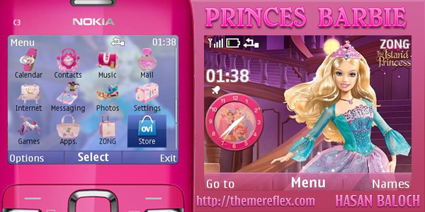 Princess Barbie – Nokia C3 / X2-01 theme